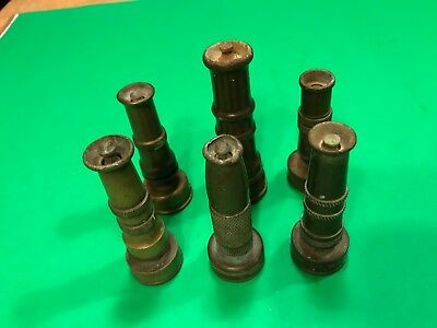 antique vintage Brass Lot Of (6) Garden Hose Nozzles In Good Condition for age