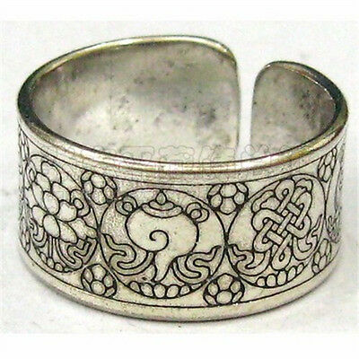 Solid Wide Adjustable Tibetan Carved 8 Auspicious Symbol Amulet Ring, Thumb Ring