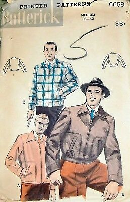 Vtg 1950s Sewing Pattern Butterick 6658 Men's Eisenhower Aviator Jacket Sz 38 40