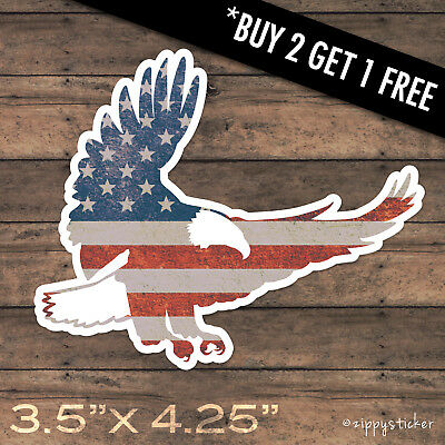 Eagle Sticker -  American Flag Patriot Bald United States Vinyl Window Laptop