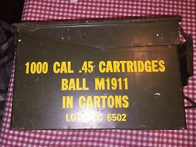 US MILITARY ISSUE Vintage (AFX) 45 CAL AMMO CAN BOX ARMY SURPLUS SOLD EMPTY.