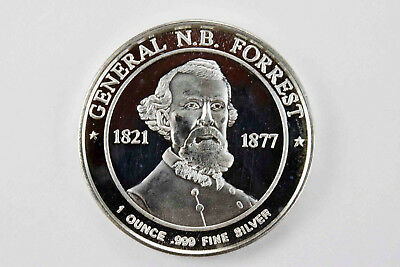 General N.B. Forrest  1821 1877 1 oz silver round .999 purity