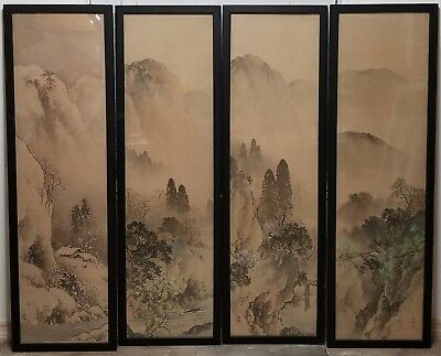 Set of 4 Antique Signed Japanese Landscape Scroll Silk Paintings Seasons Asian