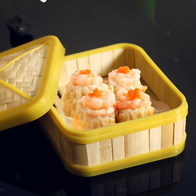 Square Food Cooking Basket Bamboo Steamer Steamed Buns Kitchen 8 inch