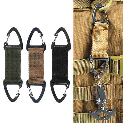 3Pcs Tactical Nylon Webbing Carabiner Key Holder Bag Hook Buckle Strap Clip