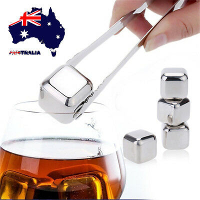 4pcs Whisky Ice Stones Stainless Steel Ice Wine Drinks Cooler Cubes Rocks Shaped
