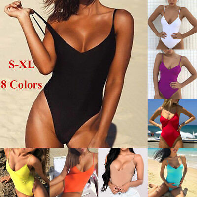 Womens Sexy Thong Swimsuit Bodysuit One-piece Swimwear Leotard-Dancewear/