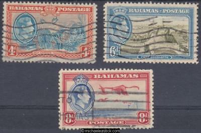 1938 Bahamas Pictorials, Set of 3, SG 158-60, used