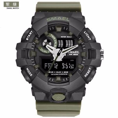 SMAEL Mens 3D Big Dial Sports Digital Dual Time Army Military Rubber Wrist Watch
