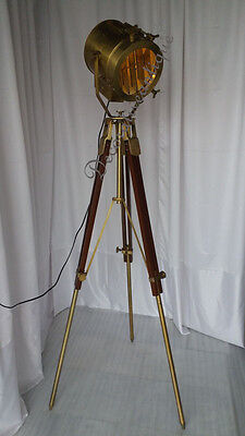 Beautiful Nautical Antique  Brass Spot light Home Decorative Floor Lamp Tripod