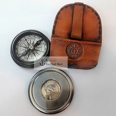 Antique Brass Poem Compass With Leather Case Collectible