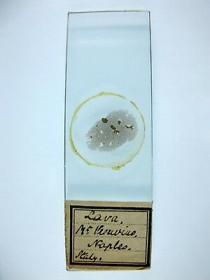 Antique Microscope Slide. Geology. Lava from Mount Vesuvius. Naples, Italy.