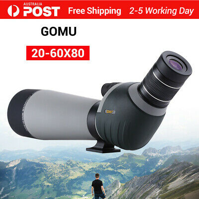 GOMU 20-60x80 Zoom Spotting Scope FMC Lens Nitrogen Filled Monocular with Tripod