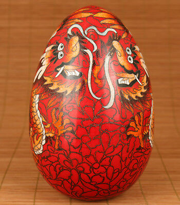 Big Rare Chinese Cloisonne Copper Hand Red Dragon Statue Egg Home Decoratioon