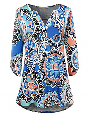 Viracy 3 4 Sleeve Tops Women Ladies Loose Fitting Shirts Floral