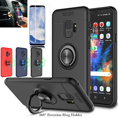 For Samsung Galaxy S9 Slim Case With Magnetic Ring Holder Stand+Screen Protector