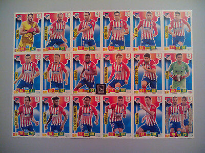 Set Completo Atlético De Madrid 18 Cards Básicas - Adrenalyn Xl Liga 2018 2019