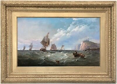 Shipping off the Coast Antique Marine Oil Painting John James Wilson (1818-1875)