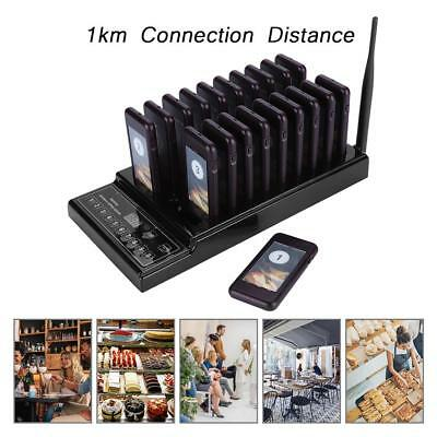 Restaurant Coaster Pager Guest Call Wireless Paging Queuing Calling System Black