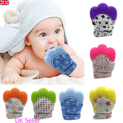 Baby Silicone Anti-bite Mitts Teething Mitten Glove Wrapper Soft Teether Gift UK