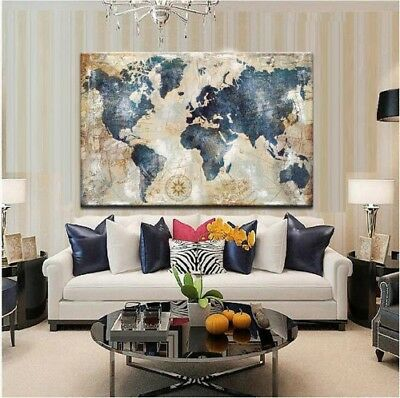 1Pcs Watercolor World Map Vintage Painting Canvas on Print Wall Art Home Decor
