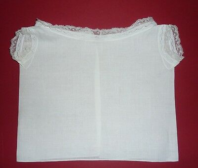 Antique/Vintage Fine Cotton & Lace Baby Vest~First Shirt~Top For Doll Or Bear