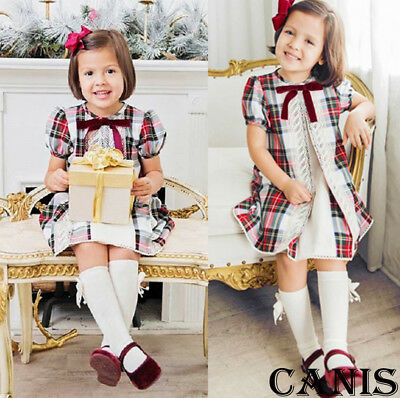Canis Toddler Kids Baby Girl Vintage Plaid Lace Spanish Summer Party Shirt Dress
