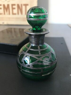 Art Nouveau Green Glass With Silver Overlay Scent Bottle