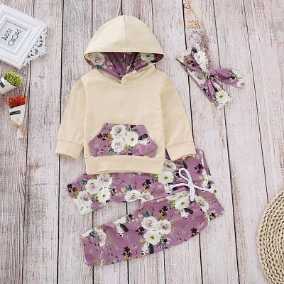 3pcs Infant Newborn Kids Baby Floral Clothes Hooded Shirt Tops+Pants Outfits Set