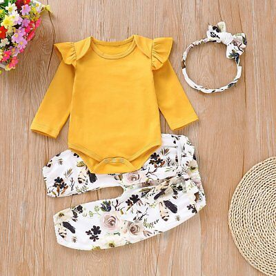 3pcs Newborn Infant Baby Girls Outfits Clothes Romper Tops+Pants+Headband Set