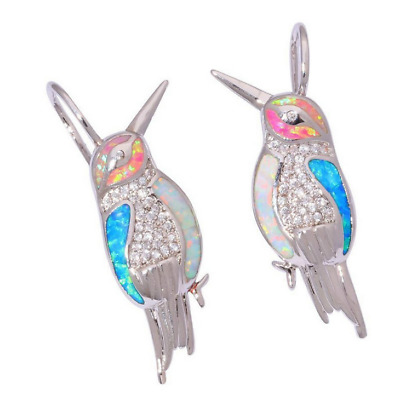 1 Pair Woman Fashion 925 Silver Jewelry Bird Fire Opal Charm Earring Pendant HOT