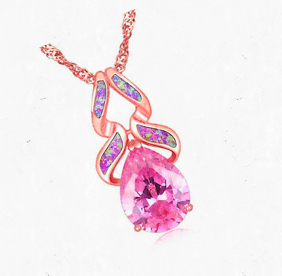Woman Fashion 925 Silver Jewelry Pink Fire Opal Charm Pendant Necklace Chain HOT
