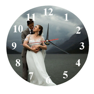 Personalised Wall Glass Clock photo/text/numbers Mother's Day Valentine Wedding
