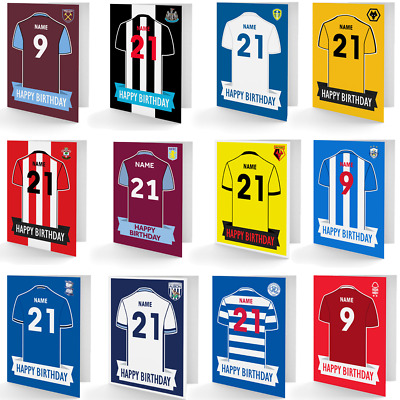 Personalised Football Club Birthday Cards. Any Name, Any Number On The Shirt