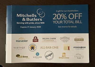 Mitchells & Butlers x12 vouchers,20% off for up to 10 people.Valid until 31.1.20