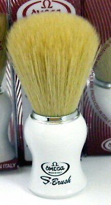 Omega S11745 - Synthetic Bristle Shaving Brush White Handle