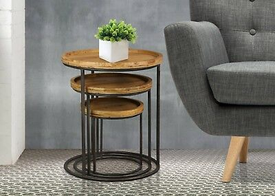 Rustic And Compact Natural Fir Nest Of Tables