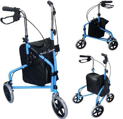 New Blue Protable Rollator 3 Wheel Walker Mobility Walking Frame Disability Aid