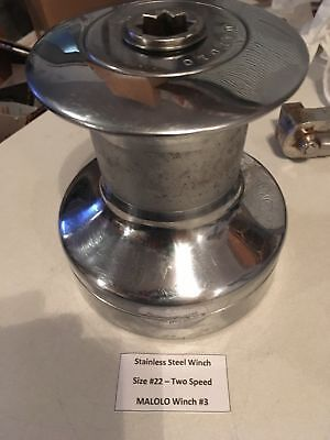 Stainless Steel Sail Boat Winch #22 - Two Speed, Barient Style - MALOLO #3