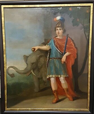 Antique French Oil With Elephant Late 18Th Century.