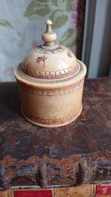 SUPERB ANTIQUE FRENCH HAND CARVED FINIAL TOP POT TRINKET POT mid 1800s