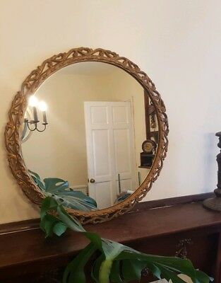 Lovely Large Round Vintage Gilded Gold Cast Iron Mirror Rococo Style Castcraft