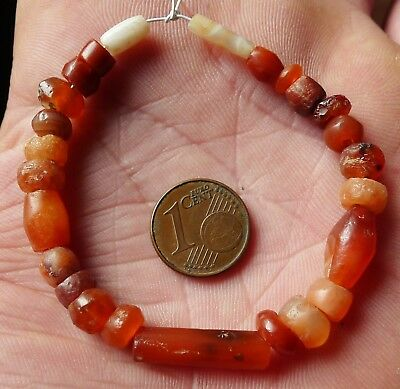 8mm Perles Ancien Afrique Mali Ancient Neolithic Agate Carnelian Beads Africa