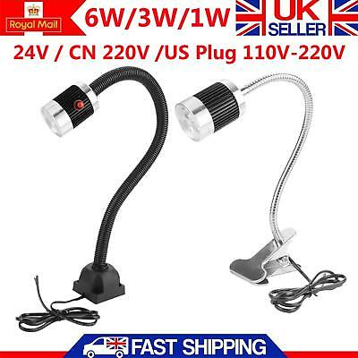 6W/3W/1W  Flexible CNC Machine Working Lamp Light LED Gooseneck Clip/Fixed Base