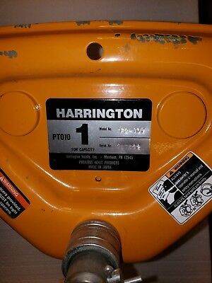 Harrington 1 Ton Push Type Trolley New with paint chips PT010