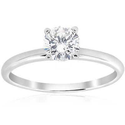 3/4ct Solitaire 4-Prong Diamond Engagement Ring 14k White Gold Round Cut Jewelry