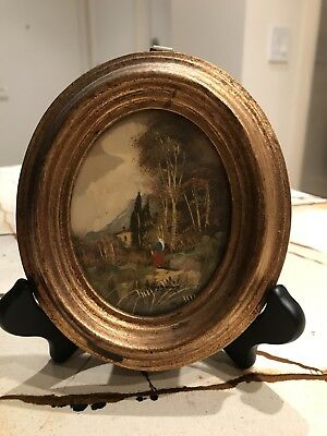 Original Rogers Signed Landscape With Woman Oil Painting in Oval Gilt Frame