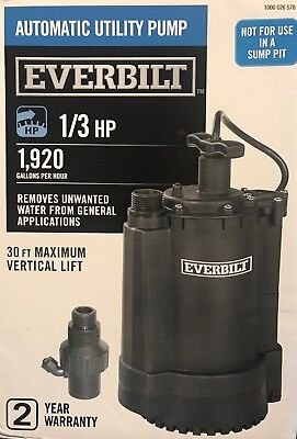 Everbilt Automatic Utility Pump 1/3 HP 1,920 Gallons/Hour