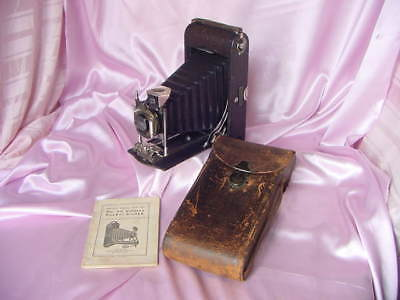 Antique 1911 Kodak Camera Vintage No. 3A Folding Pocket W/ Case & Booklet Nr