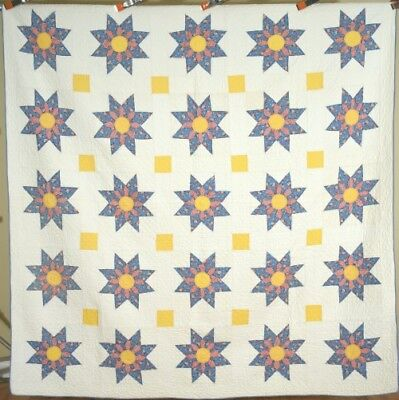 Large WELL QUILTED Vintage 30's Star Flower Antique Quilt ~BEAUTIFUL COLORS!